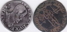 Spanish Netherlands – 1/5 Philipsdaalder 156? and Rekenpenning 1608