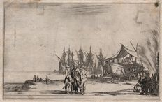 Stefano della Bella (1610-1664) -  Men working on a boat and ships lined up behind- From 'Suite de huit marines - 1634