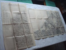 "Third Reich; Lot with 2 x old original maps from 1939 ""Calais - Boulogne"" and ""Abbeville"" special edition for service use only Wehrmacht 2.Weltkrieg"
