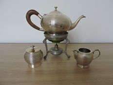 Silver plated tea service with burner - 1930s