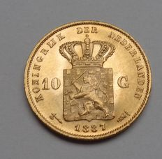 The Netherlands, 10 guilder coin,  1887, William III of the Netherlands, gold