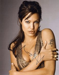 Signed; Great sexy photo of actress Angelina Jolie-2015