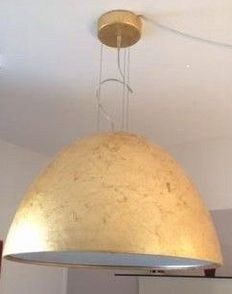 "Enzo Panzeri for Panzeri – Large ceiling lamp ""Willy 60 gold"" coverd in gold leaf"