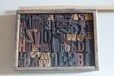 91 letters of printing press - typography - mix selection of characters