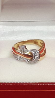 18 kt gold ring Diamonds 0.042 / size 51