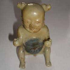 Chinese blue and white porcelain sitting boy - 120 mm