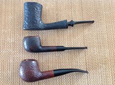 "Lot of no. 3 great pipes, Savinelli "" Extra "" 9002, Mac Baren "" Extra "" 336, Hilson "" Flair Largo "", blasted briar pipes !!!"