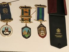 Collection of 3 Masonic medals and case