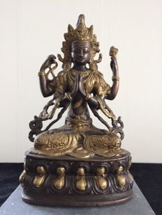 Bronze image of a four-armed Chenrezig – Nepal – 2nd half 20th century