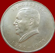 Paraguay. 300 Guaraníes. Silver coin. 1968.  President Stroessner's fourth term.