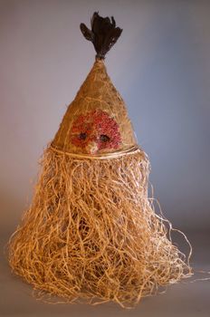 Mufuampo Straw Hat/Mask from the Idangani Society - SALAMPASU - D.R. Congo