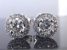 * White gold ear studs set with diamonds of 0.70 ct in total *** No reserve price***