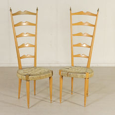 Unknown designer – Pair of chairs with high backs