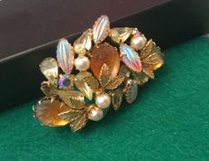 Vintage American brooch with most beatiful glass beads and gold color leaves