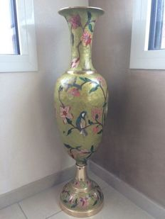 Large copper vase, hand-painted, 1st half of 20th century