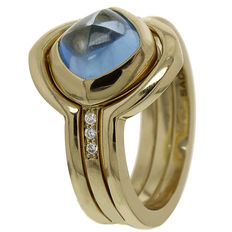 "Saddal – Gold women's ring ""Dolce"" with diamond and blue topaz"