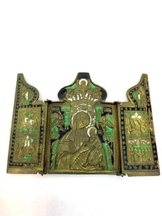"Bronze enamel triptych ""Mother of God of Smolensk"" - Russia - 19th century"