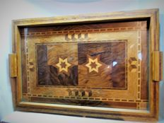 A very fine Art Deco oak tray with marquetry, France, ca. 1920