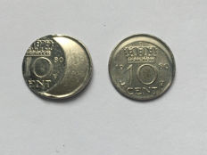 The Netherlands – 10 cent 1980 Juliana (2 pieces) miss-strikes