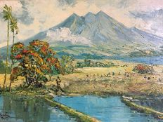 "G.A. Kadir (20th century)-"" view on the Ruang volcano"""