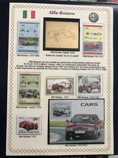 World including France 1960-2000 - 26 'gold' stamps 22 ct from Zambia - 56 pages including 48 panels - more than 900 stamps.