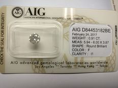 0.91 ct Round cut diamond F I1