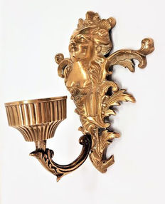 Alsatian woman, copper wall Sconce, first half of the 20th century, France