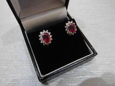 18k Gold Ruby and Diamond Cluster Earrings
