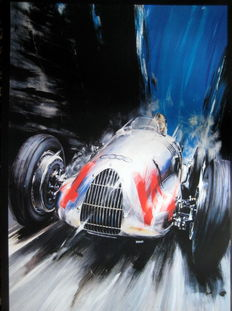 Auto Union 1938 - Bernt Rosemeyer - Artist Klaus Wagger - Beautiful poster