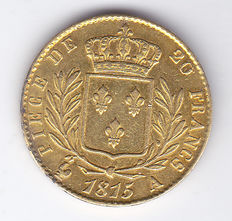 France – 20 francs 1815 A Louis XVIII – gold