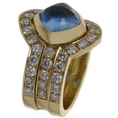 "Saddal – Yellow gold women's ring ""Dolce"" with diamond and blue topaz"