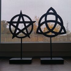 Large pentagram & triquetra on stand, Wiccan duo