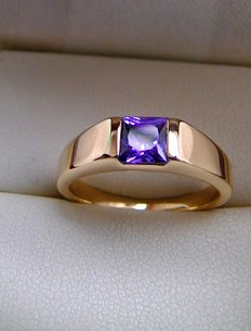 First class tanzanite ring AAA / 0.65ct tension-look 750 gold 5g
