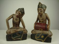Two polychrome painted wooden figures – Bali – Indonesia