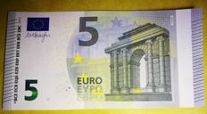 European Union -  5 Euro 2013 MISPRINT - WHITE STRIP on reverse - ERROR NOTE
