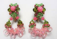 Signed VENDOME - Rare Clip on screw tension backs earrings Pink, green & gold tone
