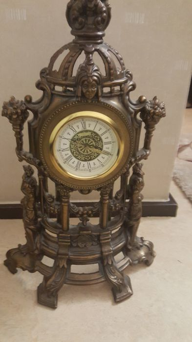 Vintage Large West Germany Brass Table Clock   20th Century