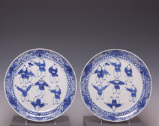 Beautiful set of blue white porcelain plates, playing boys, China, approx. 1900