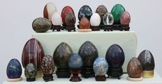 Extensive collection of fine Mineral eggs, some with stands - 30 to 80mm - 2250gm  (23)