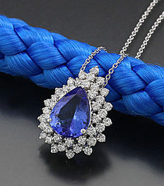 Tanzanite brilliant necklace, 1 blue-violet tanzanite droplets, 750-/ 18kt white gold -- no reserve price --