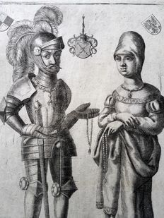 Unknown artist - Allegoric; Knight and Woman both standing on an dog - ca. 17th century