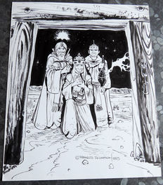 "Plisson, François- original drawing in India ink - ""Les Rois Mages"" (The Three Kings) - (1995)"