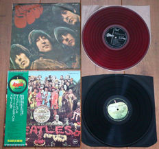 "The Beatles- rare lot of 2 early Japanese pressings of classic lp's: Rubber Soul (1st Japanese pressing on ""low noise"" RED wax) & Sgt. Pepper's (with OBI & original black inner sleeve)"