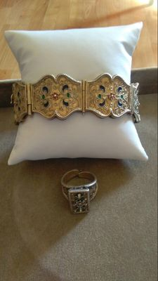 Antique set with gold plated 800 silver bracelet and ring