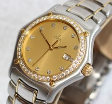 Ebel 1911 18k gold and stainless steel diamond bezel and diamond dial 35mm - unisex watch - 2000's