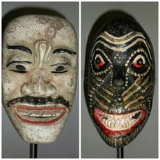 Two wooden dance masks - Bali - Indonesia