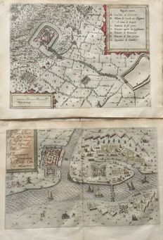 Germany, Ruhrort, Krefeld; Pompeo Guistiano - 2 copper engravings - 1609