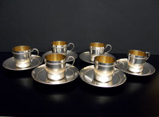 SET OF 6 CUPS,  Gaston Bésegher, FRANCE,  1886-1923