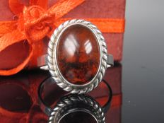 """Fischland"" silver ring with amber German handmade"