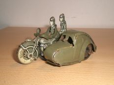 Saalheimer & Strauss, Germany - Length 9.5 cm - Tin Army motor with side-car Pennytoy, 30s
